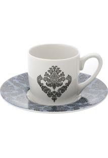 Jogo De Xícaras Para Café Em Porcelana Lyor Barroque 6 Peças 90Ml