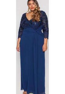 Vestido Almaria Plus Size Pianeta Festa Renda Marinho Azul