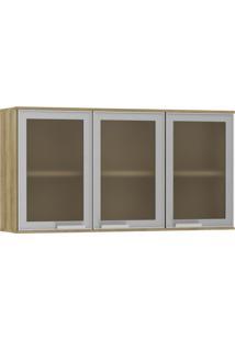 Módulo Cozinha Aéreo Aline 3 Portas - 120Cm - 935/503 - Aluminio Com Carvalho - Smart - Luciane