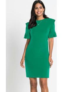 Vestido De Crepe Com Babados Verde