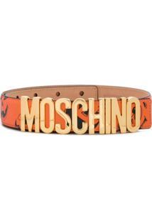 Moschino Cinto Com Logo E Estampa De Rosto - Laranja