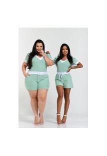Macaquinho Summer Body Canelado Verde