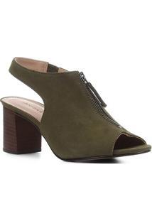 Sandal Boot Couro Shoestock Nobuck Salto Bloco Feminina - Feminino-Verde