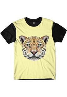 Camiseta Bsc Cara De Onça Sublimada - Masculino-Amarelo
