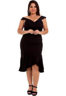Vestido Izad Midi Em Crepe Plus Size Preto