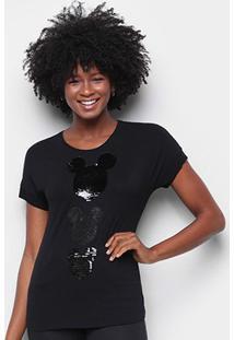 Blusa Cativa Disney Mickey Paetê Feminina - Feminino-Preto