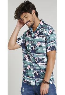 Camisa Masculina Estampada Tropical Manga Curta Gola Esporte Azul Escuro
