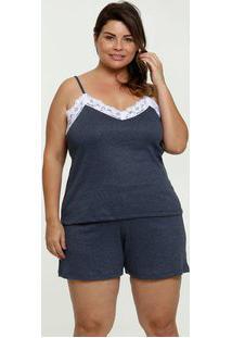 Pijama Feminino Recorte Renda Plus Size
