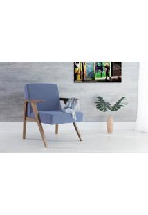 Poltrona Design De Madeira Estofada Com Braços Azul Claro Théo - Verniz Capuccino \ Tec.930 - 63X71X83 Cm