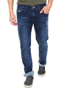 Calça Jeans Colcci Slim Estonada Azul