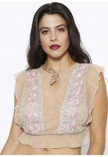 Blusa Cropped Em Tule - Bege & Rosa - Liebeliebe