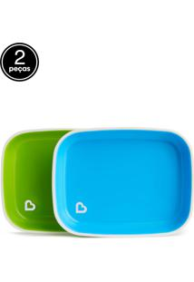 Conjunto De Pratos Azul E Verde (Emb. C/ 2 Unid.)