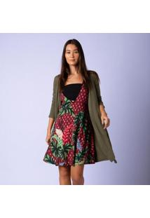 Casaco Mercatto Malha Alongado Com Pontas Feminino - Feminino-Verde Claro