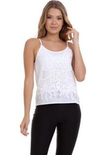 Blusa Kinara Alcinha Frente Dupla Crepe E Renda Feminina - Feminino-Branco