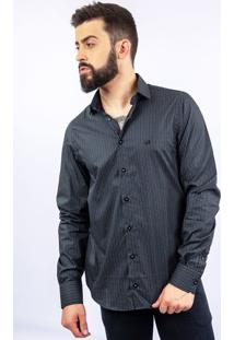 Camisa Lupim Slim Fit Micro Quadrados Preta