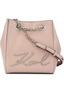 Karl Lagerfeld Bolsa Bucket K Signature - Rosa