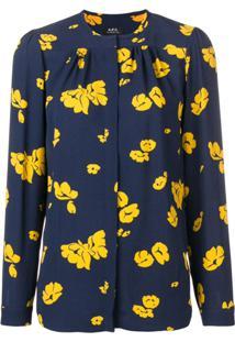 A.P.C. Blusa Estampada Serena - Azul