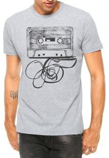 Camiseta Criativa Urbana Fita Cassete K7 Manga Curta - Masculino-Cinza