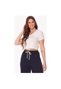 Camiseta Cropped Daniela Cristina Decote V 256Dc10041 Off