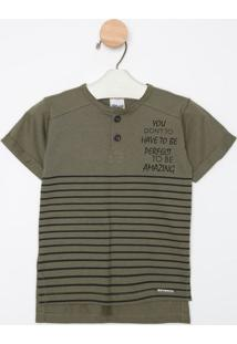 "Camiseta ""To Be Amazing"" Com Botãµes - Verde Militar & Prtime Kids"