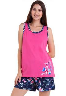 Pijama Short Doll Regata Flores Feminino Adulto Luna Cuore