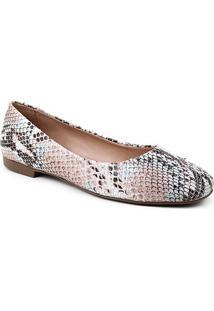 Sapatilha Couro Shoestock Comfy Bico Quadrado Snake Feminina - Feminino-Colorido