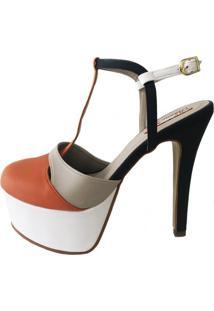 Sandália Blume Calçados Flame Multicolorido Branco