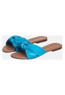 Sandália Rasteira Feminina Slide Azul