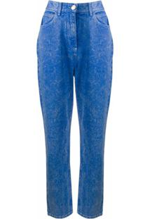 Balmain Calça Jeans Boyfriend Com Efeito Manchado - Azul