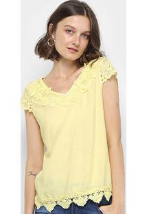 Blusa Sofia Fashion Guipir Feminina - Feminino-Amarelo