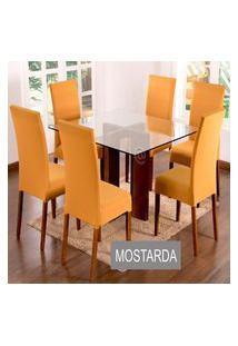 Kit Capa De Cadeira Lisa 2 Peças Mostarda