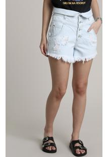 Short Jeans Feminino Cintura Super Alta Destroyed Com Cós Virado Azul Claro