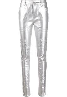 Rick Owens Drkshdw Calça Skinny Com Efeito Polido - Metálico
