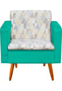 Poltrona Decorativa Emília Linho A17 Com Suede Verde Tiffany - D'Rossi