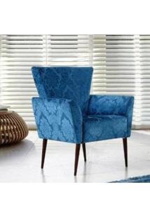 Poltrona Cancun Pés Palito- Azul Florado - Tommy Design