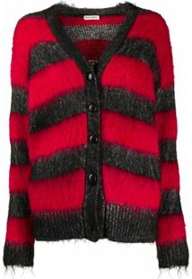 Saint Laurent Striped Lurex Detail Cardigan - Preto