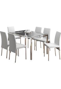 Conjunto De Mesa Com 6 Cadeiras Bia Couríssimo Branco