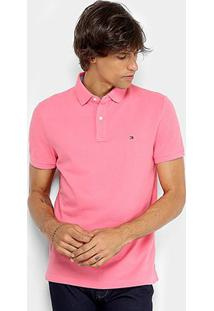 Camisa Polo Tommy Hilfiger Básica Masculina - Masculino-Rosa