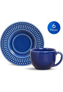 Conjunto 6 Xícaras De Chá Com Pires Roma - Porto Brasil - Azul Escuro