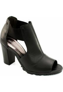 Ankle Boot Tratorada Cravo E Canela - Feminino