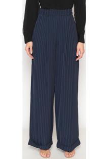 Calça Pantalona Listrada - Azul Marinho & Vermelhadudalina