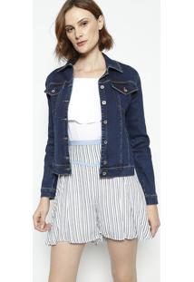 Casaco Jeans Com Recortes- Azulenna