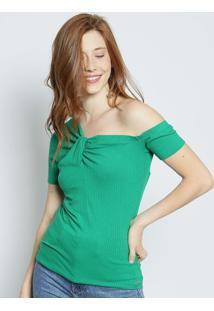 Blusa Com Decote Assimétrico- Verde- Colccicolcci