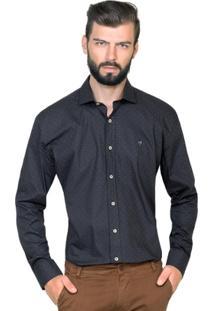 Camisa Hugo Rossi Estampada Poá Marinho - Masculino