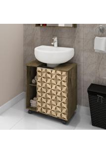Gabinete P/ Banheiro Móveis Bechara Pequin 1 Porta Madeira 3D/Rústica