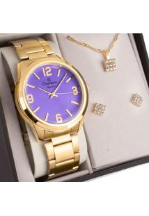 Kit Relógio Champion Feminino Elegance Com Colar E Brincos Cn27232O