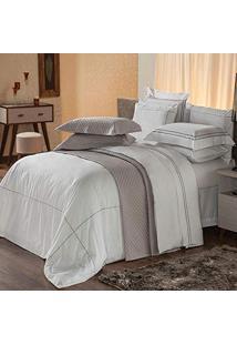4ce286a6c7 Amazon. Jogo De Cama King Premium Branco Cinza Algodão Mame Plumasul  Bordado Textura Conforto 230 - Peças Fios Harmonious 4 ...