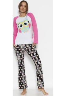 Pijama Coruja Com Recortes- Rosa & Preto- Puketpuket