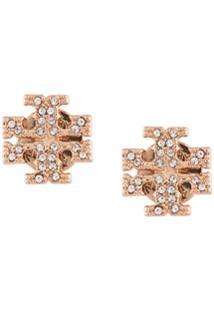 Tory Burch Crystal Logo Stud Earrings - Dourado