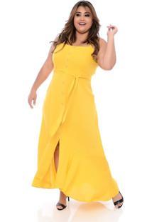 Roupas Plus Size Domenica Solazzo Vestidos Longos Amarelo - Kanui